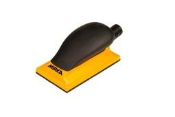 Шлифок ручной жёлтый с пылеотводом 70x125мм 13 отв.