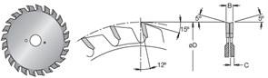 Диск циркулярный 120x20x2,8-3,6 Z2x12 для ЛДСП