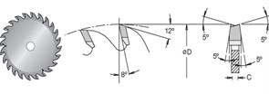 Диск циркулярный 100x20x2.8-3.6 Z2x12 для ЛДСП
