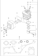Запчасти на цилиндр, поршень и глушитель К1270 Husqvarna