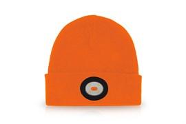 Шапка с фонариком оранжевая 150 Lm USB