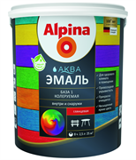 Эмаль акриловая Alpina Аква Эмаль шелковисто-матовая 1 база