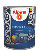 Эмаль алкидно-уретановая Alpina по ржавчине 3в1 База 3