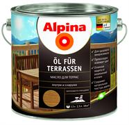 Состав лессирующий Alpina масло для террас Dunkel темный тон