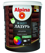 Антисептик лессирующий Alpina Аква лазурь для дерева цветная Тик