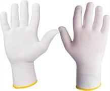 Перчатки легкие бесшовные трикотажные из нейлона JS011n, цвет белый