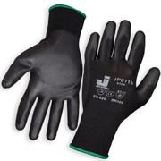 Перчатки защитные из полиэстеровой пряжи c полиуретановым покрытием JP011, цвет черный