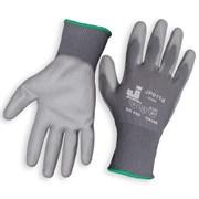 Перчатки защитные из полиэстеровой пряжи c полиуретановым покрытием JP011, цвет серый