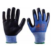 Перчатки промышленные трикотажные для защиты от порезов (5 класс) из синтетической пряжи (полиэтилен) с нитриловым покрытием ладони JCN051